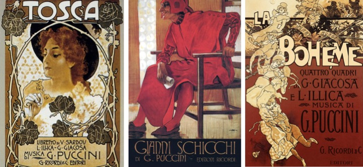 Original posters from Tosca, Gianni Schicchi and La Bohème
